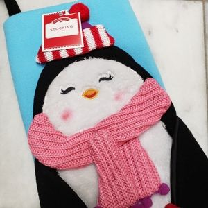 Holiday Time Penquin Christmas Stocking NWT